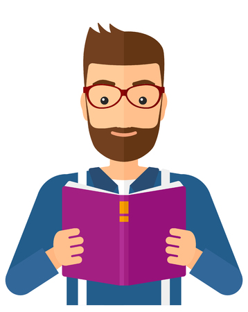 A hipster man with the beard reading a book vector flat design illustration isolated on white background. Vertical layout.