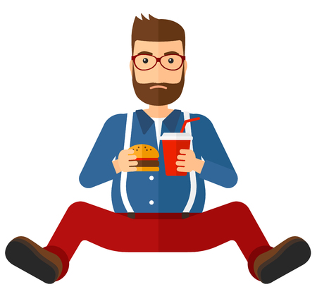 A fat man with the beard sitting on the floor while eating hamburger and drinking soda vector flat design illustration isolated on white background. Square layout.