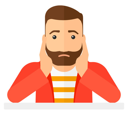 university students: A hipster man with the beard in despair clutching his head vector flat design illustration isolated on white background. Square layout.