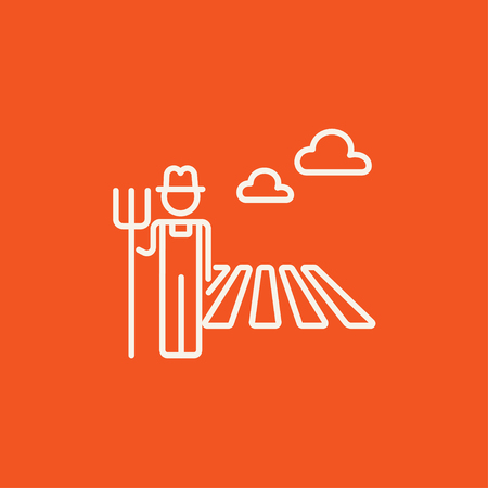 grower: Farmer with pitchfork standing on the field line icon for web, mobile and infographics. Vector white icon isolated on red background. Illustration