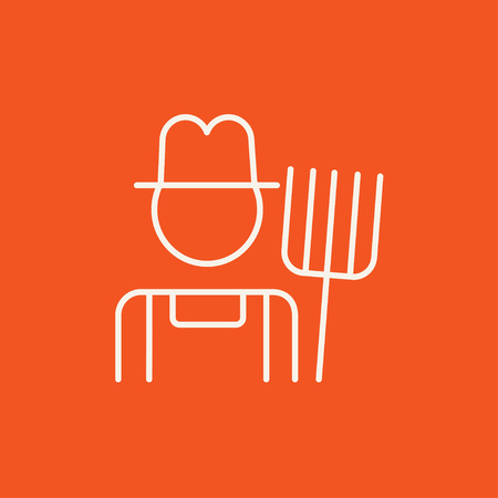 villager: Farmer with pitchfork line icon for web, mobile and infographics. Vector white icon isolated on red background.