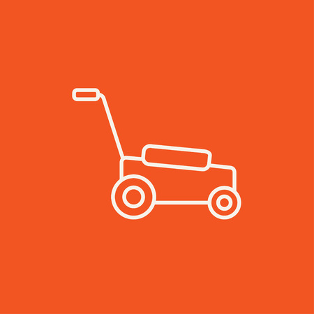 push mower: Lawnmover line icon for web, mobile and infographics. Vector white icon isolated on red background. Illustration