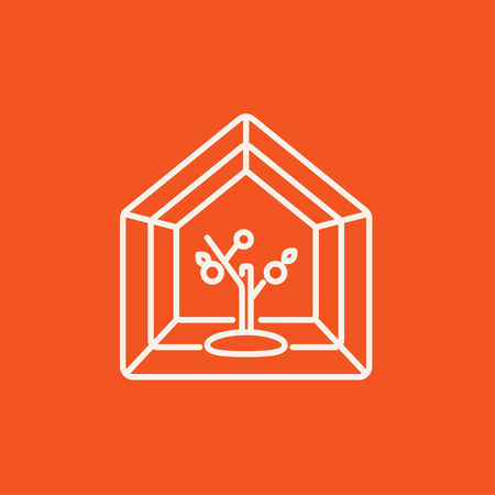 greenhouse: Greenhouse line icon for web, mobile and infographics. Vector white icon isolated on red background.