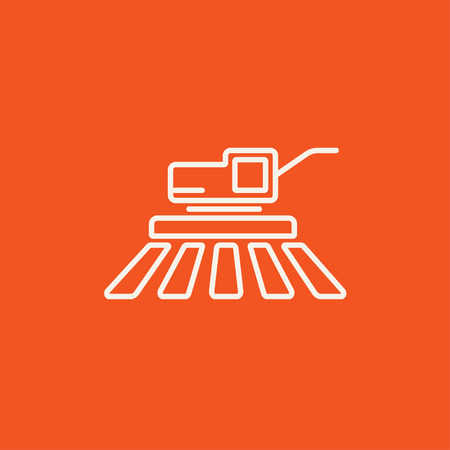 combine harvester: Combine harvester line icon for web, mobile and infographics. Vector white icon isolated on red background. Illustration