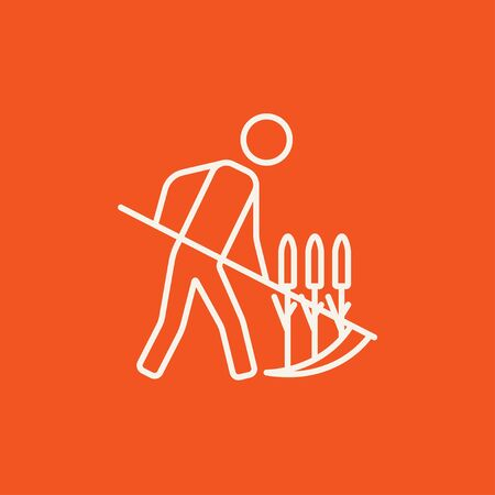 mowing the grass: Man mowing grass with a scythe line icon for web, mobile and infographics. Vector white icon isolated on red background.