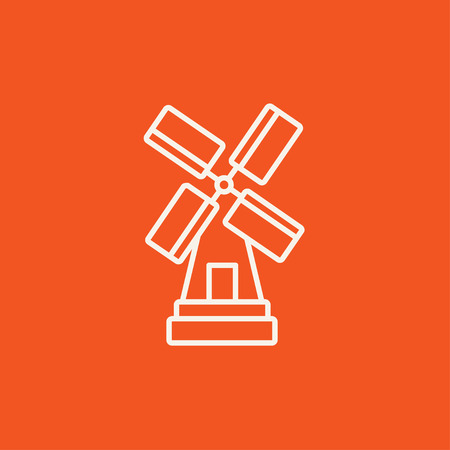 agro: Windmill line icon for web, mobile and infographics. Vector white icon isolated on red background. Illustration