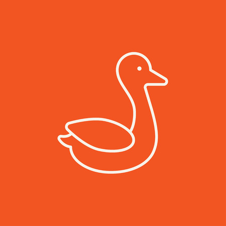 Duck line icon for web, mobile and infographics. Vector white icon isolated on red background.