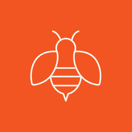 Bee line icon for web, mobile and infographics. Vector white icon isolated on red background.
