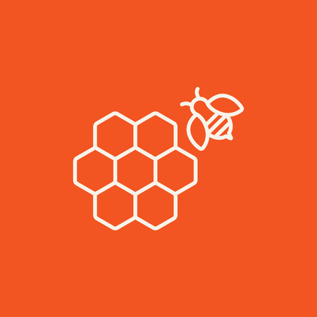 honeyed: Honeycomb and a bee line icon for web, mobile and infographics. Vector white icon isolated on red background.