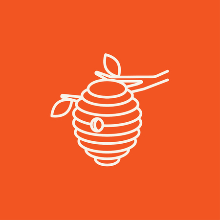 Bee hive line icon for web, mobile and infographics. Vector white icon isolated on red background.