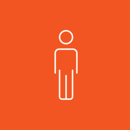 fullbody: Businessman standing  line icon for web, mobile and infographics. Vector white icon isolated on red background. Illustration