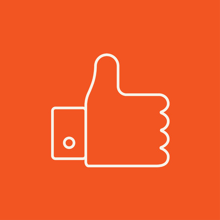 Thumb up line icon for web, mobile and infographics. Vector white icon isolated on red background. Illustration