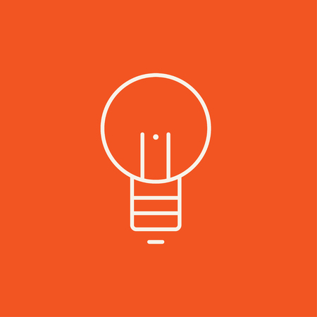Lightbulb line icon for web, mobile and infographics. Vector white icon isolated on red background.