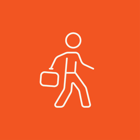 educated: Businessman walking with briefcase line icon for web, mobile and infographics. Vector white icon isolated on red background.