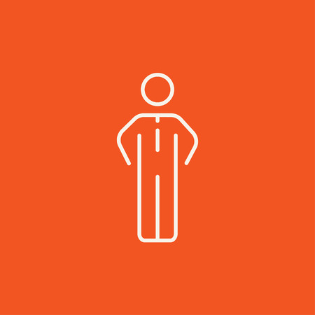 standing in line: Businessman standing line icon for web, mobile and infographics. Vector white icon isolated on red background. Illustration
