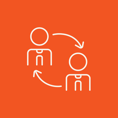 changes: Staff turnover line icon for web, mobile and infographics. Vector white icon isolated on red background. Illustration