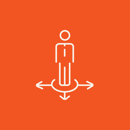 hesitate: A businessman standing on three alternative ways line icon for web, mobile and infographics. Vector white icon isolated on red background.
