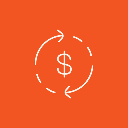 refresh rate: Dollar symbol with arrows around line icon for web, mobile and infographics. Vector white icon isolated on red background.