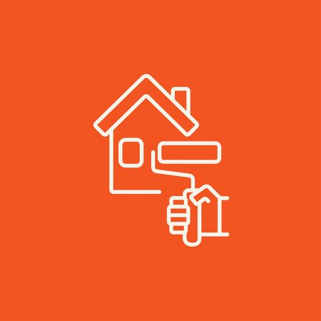 house painter: House with roller for painting line icon for web, mobile and infographics. Vector white icon isolated on red background. Illustration