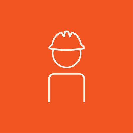 hard: Worker wearing hard hat line icon for web, mobile and infographics. Vector white icon isolated on red background.