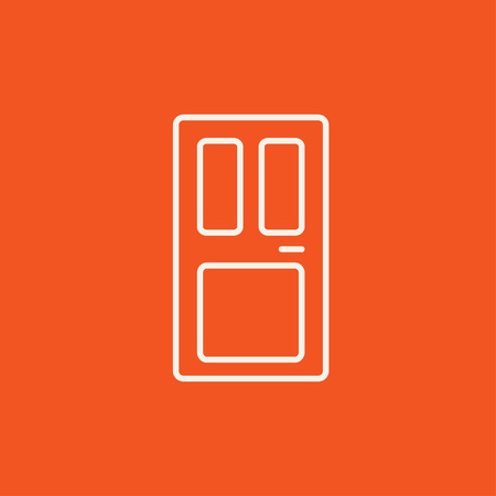 front door: Front door line icon for web, mobile and infographics. Vector white icon isolated on red background.