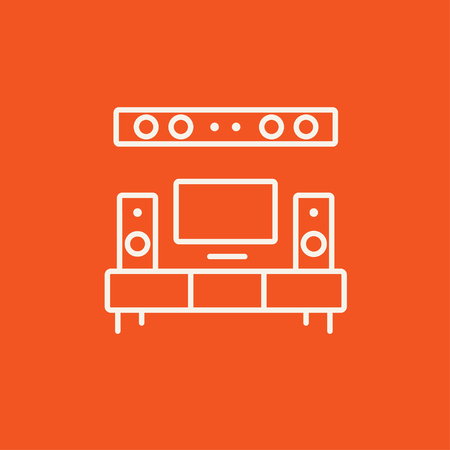 flat screen tv: TV flat screen and home theater line icon for web, mobile and infographics. Vector white icon isolated on red background.