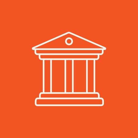 academia: Museum line icon for web, mobile and infographics. Vector white icon isolated on red background.