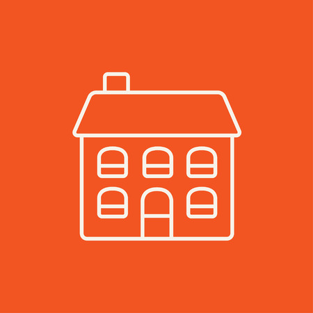 two storey house: Two storey detached house line icon for web, mobile and infographics. Vector white icon isolated on red background.