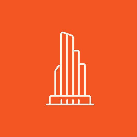 multi storey: Skyscraper office building line icon for web, mobile and infographics. Vector white icon isolated on red background. Illustration