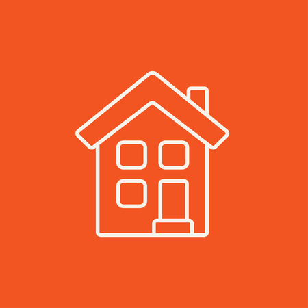 detached: Two storey detached house line icon for web, mobile and infographics. Vector white icon isolated on red background.