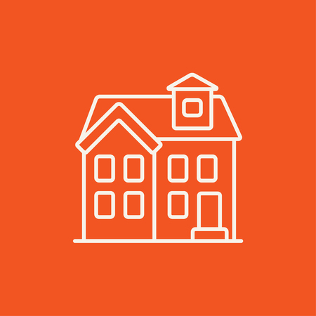 housing project: Two storey detached house line icon for web, mobile and infographics. Vector white icon isolated on red background.