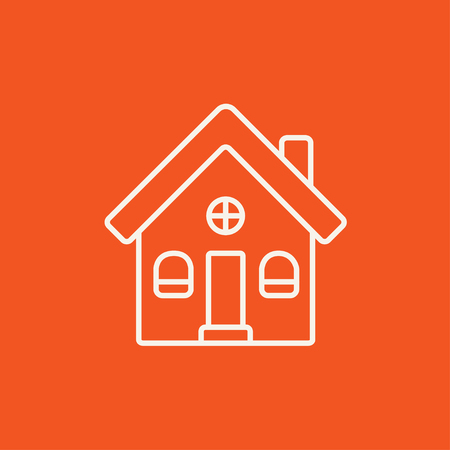 housing project: Detached house line icon for web, mobile and infographics. Vector white icon isolated on red background.