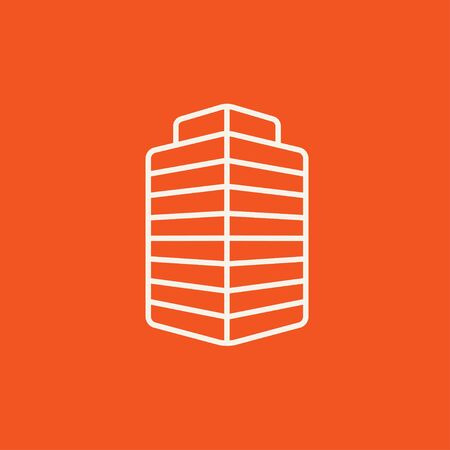 multi storey: Office building line icon for web, mobile and infographics. Vector white icon isolated on red background.