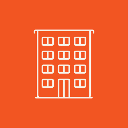 Residential building line icon for web, mobile and infographics. Vector white icon isolated on red background.