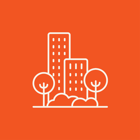 multi storey: Residential building with trees line icon for web, mobile and infographics. Vector white icon isolated on red background.