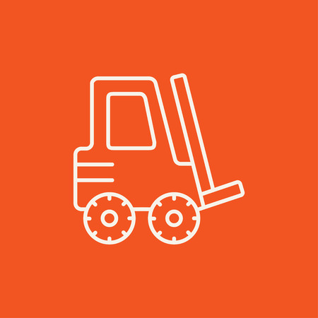distribution picking up: Forklift line icon for web, mobile and infographics. Vector white icon isolated on red background.