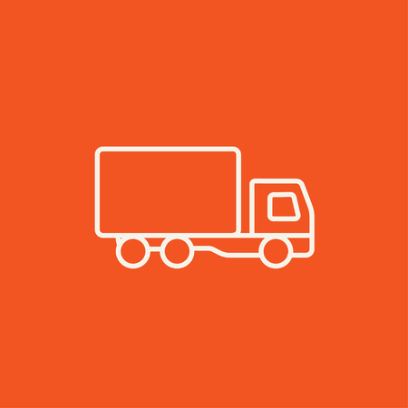 Delivery truck line icon for web, mobile and infographics. Vector white icon isolated on red background. Ilustração