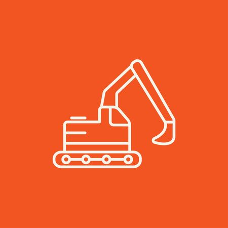 Excavator line icon for web, mobile and infographics. Vector white icon isolated on red background. Illustration