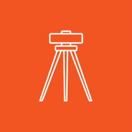 teodolito: Teodolito en icono de la línea trípode para web, móvil y la infografía. Vector icono de color blanco sobre fondo rojo.