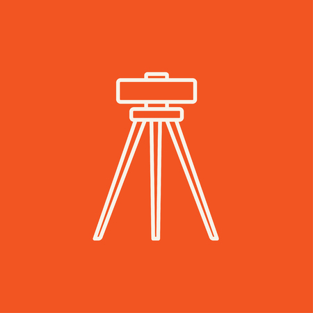 levelling: Theodolite on tripod line icon for web, mobile and infographics. Vector white icon isolated on red background.