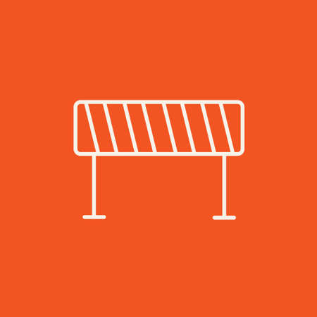 Road barrier line icon for web, mobile and infographics. Vector white icon isolated on red background.  イラスト・ベクター素材
