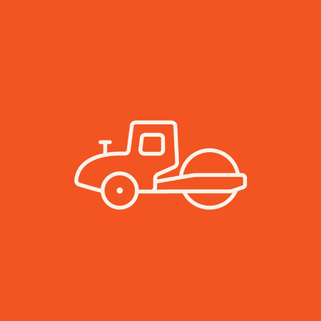 steamroller: Road roller line icon for web, mobile and infographics. Vector white icon isolated on red background.