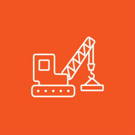 auto hoist: Lifting crane line icon for web, mobile and infographics. Vector white icon isolated on red background.