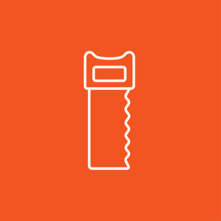 sawn: Saw line icon for web, mobile and infographics. Vector white icon isolated on red background.