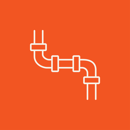 Water pipeline line icon for web, mobile and infographics. Vector white icon isolated on red background. 일러스트