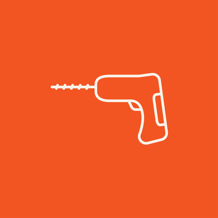hammer drill: Hammer drill line icon for web, mobile and infographics. Vector white icon isolated on red background. Illustration