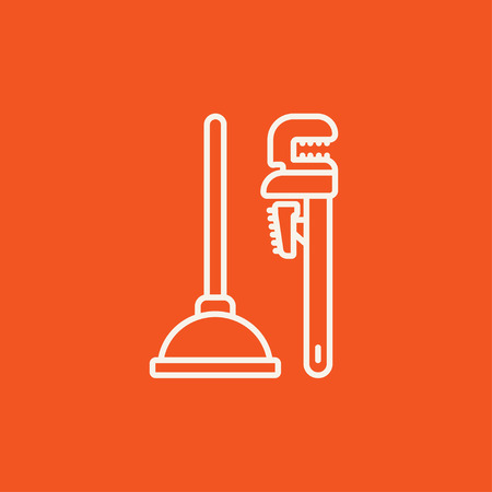 plumb: Pipe wrenches and plunger line icon for web, mobile and infographics. Vector white icon isolated on red background. Illustration