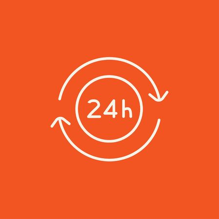 hrs: Service 24 hrs line icon for web, mobile and infographics. Vector white icon isolated on red background.