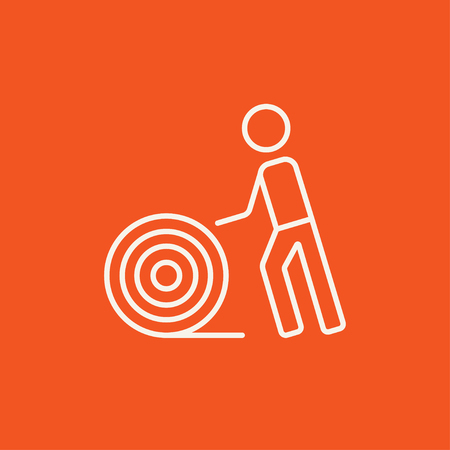 cabling: Man with wire spool line icon for web, mobile and infographics. Vector white icon isolated on red background.