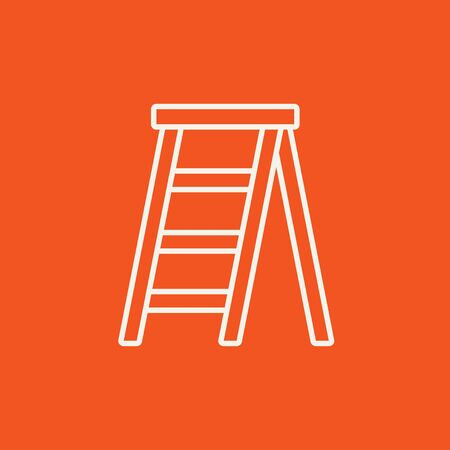 stepladder: Stepladder line icon for web, mobile and infographics. Vector white icon isolated on red background.